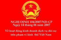 Nghị định 104/2007/NĐ-CP về kinh doanh dịch vụ đòi nợ
