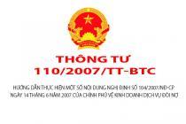 Thông tư 110/2007/TT-BTC hướng dẫn Nghị định 104/2007/NĐ-CP về kinh doanh dịch vụ đòi nợ